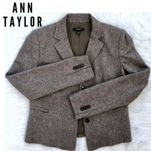 ANN TAYLOR brown wool blend office jacket size 8